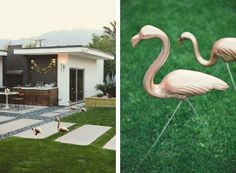 gold spray painted yard flamingos / trashy to classy. [Palm Springs Party featured on Somewhere Splendid]