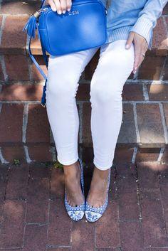 The Lust List: cobalt Gigi bag, light blue sweater, white skinnies and Tory Burch pumps