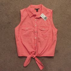 Women's checkered shirt Forever 21 women's shirt. Red and white, sleeveless, with pockets and tie at the bottom. Tags still attached, shirt has never been worn. Forever 21 Tops