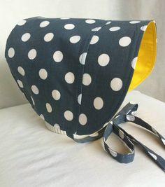 BONNET Sun Hat Reversible Bonnet Polka Dot Bonnet by 4PennyGirl, $20.00