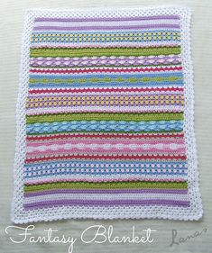 Fantasy Blanket crochet pattern - Made from medium weight yarn (DK). This is a stash busting project! The pictured blanket uses 10 colors and was made small for a baby carriage, but the pattern is adaptable to use any number of colors and to be made any size.
