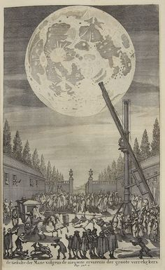 Copper plate etching of the lunar disk looming over a large telescope surrounded by a large crowd of curious onlookers, Amsterdam, 1690 (Source: staff.science.uu.nl)