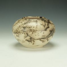 Horse Hair Raku Pottery, black and off-white.  Ready to ship.