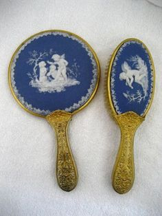 Antique Victorian Wedgwood Blue Jasperware Hand Mirror and Brush, 1900