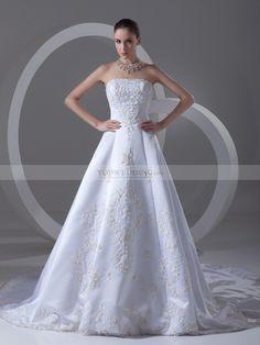 Constance - stile principessa senza spalline abito da sposa in raso con applique