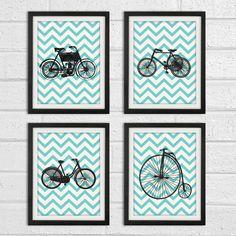 Bicycle Vintage Wall Art - Aqua Black in Chevron background - Home Decor Art Print Set of 4 8x10 Print. $38.00, via Etsy.