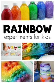 15 ideas for engaging rainbow experiment ideas kids are sure to love! I think these rainbow science activities would be perfect for a preschool rainbo. Preschool Color Theme, Preschool Themes, Preschool Science, Science Activities, Rainbow Crafts Preschool, Color Activities For Toddlers, School Age Activities, Rainbow Activities, Color Activities For Kindergarten
