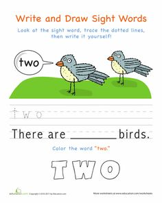 Worksheets: Write and Draw Sight Words: Two