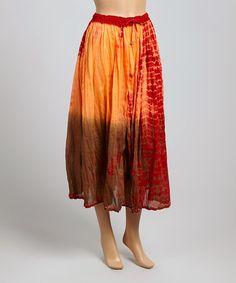 Look what I found on #zulily! Red & Orange Tie-Dye Maxi Skirt by Tokyo Collection #zulilyfinds