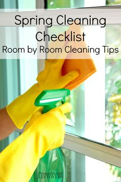 I love I have a  list of room by room spring cleaning tips and a printable spring cleaning schedule to get my house sparkling and organized!