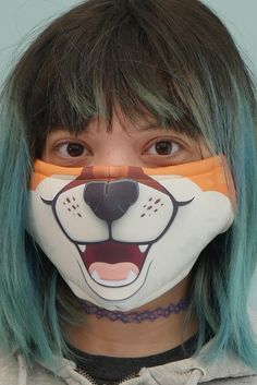 Fox Face Mask | Etsy Funny Face Mask, Diy Face Mask, Face Masks, Crochet Mask, Fox Face, Card Box Wedding, Fashion Face Mask, Mask Design, Mask For Kids