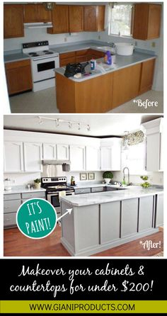 Kitchen update on a budget! Paint that looks like granite and one-day cabinet makeover. #DIY www.gianigranite.com www.nuvocabinetpaint.com