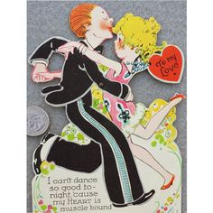 Germany Valentine Card Extra Large 1920s Mechanical Flapper Dancing