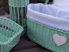 Купить Набор плетеных корзин Мятный микс - плетение из бумаги, плетеные корзинки, короба для хранения