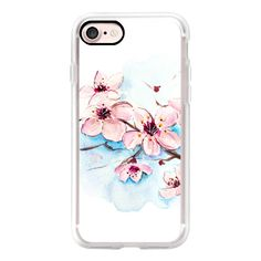Sakura Watercolor Floral Painting Original Design - iPhone 7 Case,... ($40) ❤ liked on Polyvore featuring accessories, tech accessories, iphone case, iphone hard case, apple iphone case, floral iphone case, iphone cases and iphone cover case