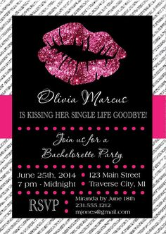Lips Bachelorette Invitation - Printable Kissing Single Life Goodbye Invite