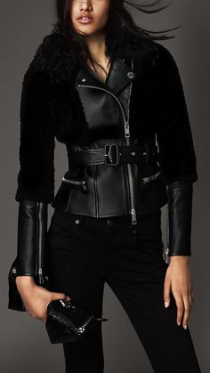 Lambskin and Shearling Biker Jacket by Burberry Burberry, All Black Fashion, Winter Fashion, Womens Fashion Stores, Fashion Brands, Mode Mantel, Langer Mantel, Urban Fashion, Coats For Women