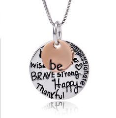 """925 Sterling Silver Two-Tone """"Be Happy"""" Graffiti Pendant Necklace - EverMarker Washer Necklace, Pendant Necklace, Personalized Charms, Engraved Necklace, Silver Plate, Graffiti, Pendants, Lettering, Sterling Silver"""