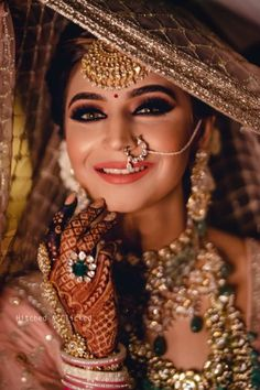 Fashion Beauty Lifestyle : 51 Most Beautiful Indian Bridal Makeup Looks and C. Indian Wedding Makeup, Indian Wedding Bride, Pakistani Bridal Makeup, Indian Bride Poses, Punjabi Wedding Couple, Indian Bride And Groom, Indian Bridal Fashion, Indian Makeup, Indian Weddings