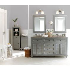 Home Decorators Collection Hamilton 61 In. Double Vanity In Grey With  Granite Vanity Top In Grey With White Basin