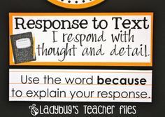 Maybe use the Response to Text printable for a board in my room for Reader's Response Notebooks