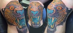 My Tiger head knee tattoo by Valerie Vargas @ Modern Classic Tattoo  Drawn-on and one shot http://modernclassictattooing.com/