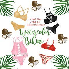 Watercolor two piece swimsuit bikini set illustration clip art by HelloNanda on Etsy https://www.etsy.com/listing/567702153/watercolor-two-piece-bikini-set