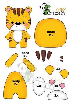 Felt Doll Patterns, Felt Animal Patterns, Felt Crafts Patterns, Felt Crafts Diy, Felt Diy, Stuffed Animal Patterns, Animal Templates, Felt Templates, Felt Dolls