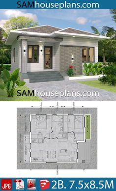 House plans 7.5x8.5m with 2 bedrooms - Sam House Plans