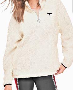 09b73633e1 Victoria s Secret Pink Sherpa Boyfriend Quarter Zip Jacket Sweater Paper  White M