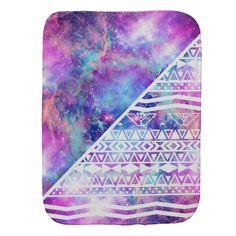 Girly Purple Pink Nebula Space White Tribal Aztec Baby Burp Cloth