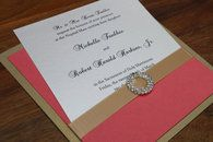 Gold and Coral Pocket Invitation with Rhinestone Slider