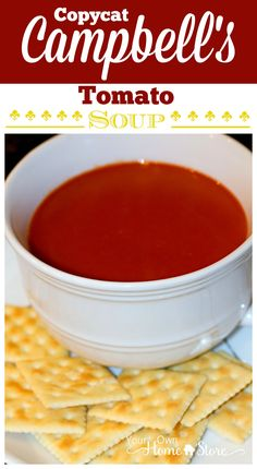 5 Ingredient Copycat Campbell's Tomato Soup Recipe.  This is SPOT-ON and has no preservatives!  http://www.yourownhomestore.com/copycat-cambells-tomato-soup/