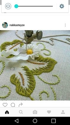 This Pin was discovered by Eft note how white rickrack makes petals Embroidered Lace Fabric, Silk Ribbon Embroidery, Hand Embroidery Designs, Embroidery Thread, Embroidery Applique, Cross Stitch Embroidery, Embroidery Patterns, Machine Embroidery, Brazilian Embroidery
