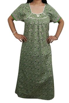 Indiatrendzs Cotton Nighty Nightwear Printed Green Sleepwear Long Night  Gown 44
