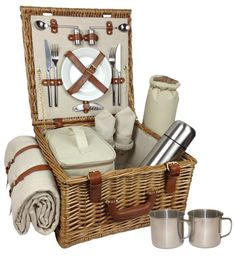 One of the Luxury picnic hampers for hire, filled with sumptuous foods and comes with all you need for 2 on a beach in North Devon. Flask, cups, lunch in a cool bag and a blanket to sit on. To Hire - £30