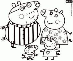 Colorear Peppa Pig y su familia en pijama