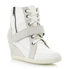 LUDICROUS - Reptile and Suede Detail Hidden Wedge Trainer by Dune London Online