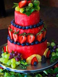 Fresh Fruit Cake made complete with fruit! Watermelon, Strawberries, Blueberries, Grapes & more. Fine example of easy Food Art.