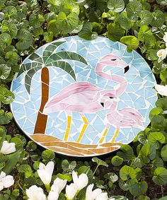 Look what I found on #zulily! Flamingo Mosaic Stepping Stone #zulilyfinds