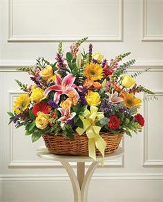 Large Sympathy Arrangement In Basket Multicolor Bright Mixed Flowers