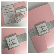 A very sweet shimmer pink pocket folder invitation perfect for a wedding…