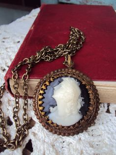 Vintage Cameo Necklace set in Antique by primitivepincushion, $32.99