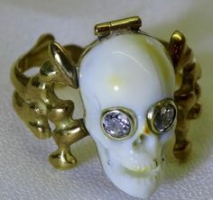 MUSEUM antique 18th C Georgian 18k gold&Diamonds Poison Memento Mori Skull ring in Jewelry & Watches, Vintage & Antique Jewelry, Fine | eBay
