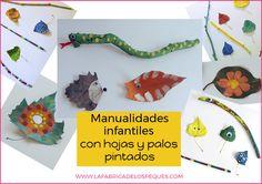 Manualidades infantiles con hojas y palos pintados