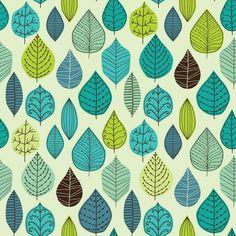 Gröna Retro Blad Skog Blå fototapet/tapet från Happywall