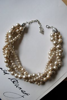 Champagne Chunky Pearl-4 Strand- Twisted Statement Necklace. $38.00, via Etsy.