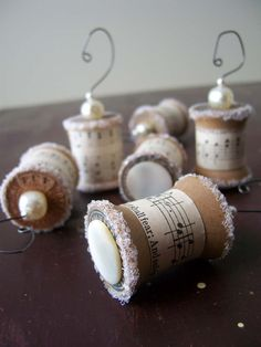 Ornaments Made From Vintage Spools as Featured in by cattales, $24.00