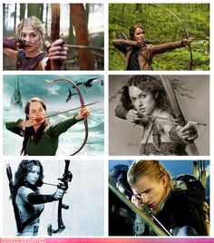 """lol, """"Female"""" Archers FromFilms (Rosamund Pike in Wrath of the Titans / Jennifer Lawrence in Hunger Games / Anna Popplewell in Chronicles of Narnia /   Keira Knightly in King Arthur / Jessica Biel in Blade Trinity / Orlando Bloom as Legolas in Lord of the Rings)"""