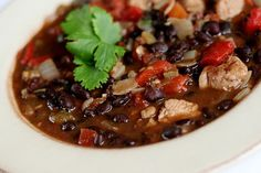 Black bean, chicken, and red pepper stew. Perfect way to use up some leftover chicken.